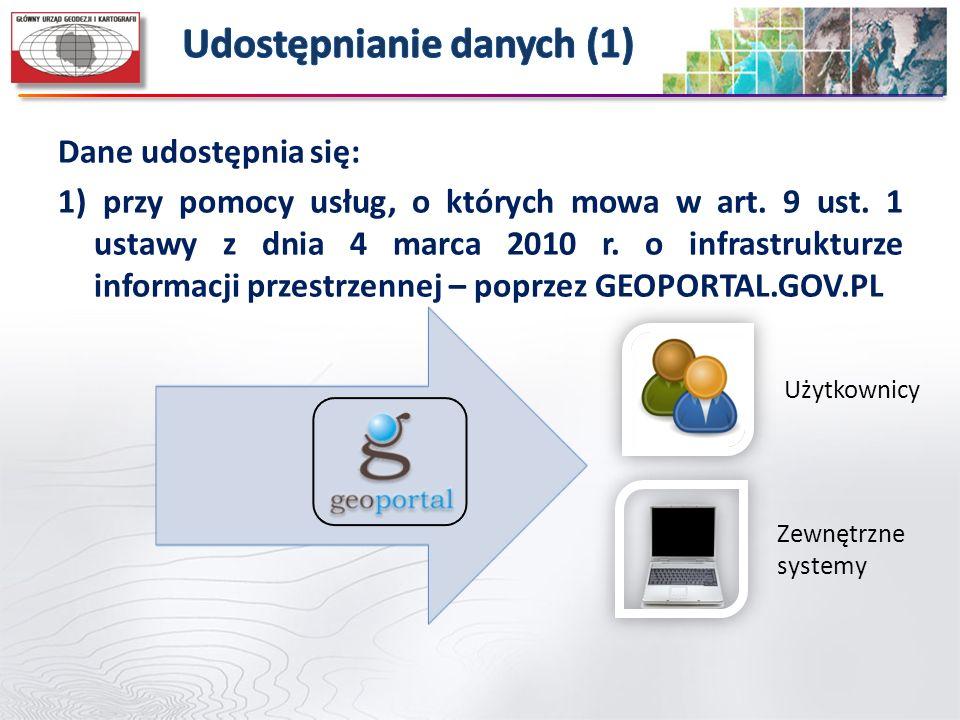 Dane udostępnia się: 1) przy pomocy usług, o których mowa w art. 9 ust. 1 ustawy z dnia 4 marca 2010 r. o infrastrukturze informacji przestrzennej – p
