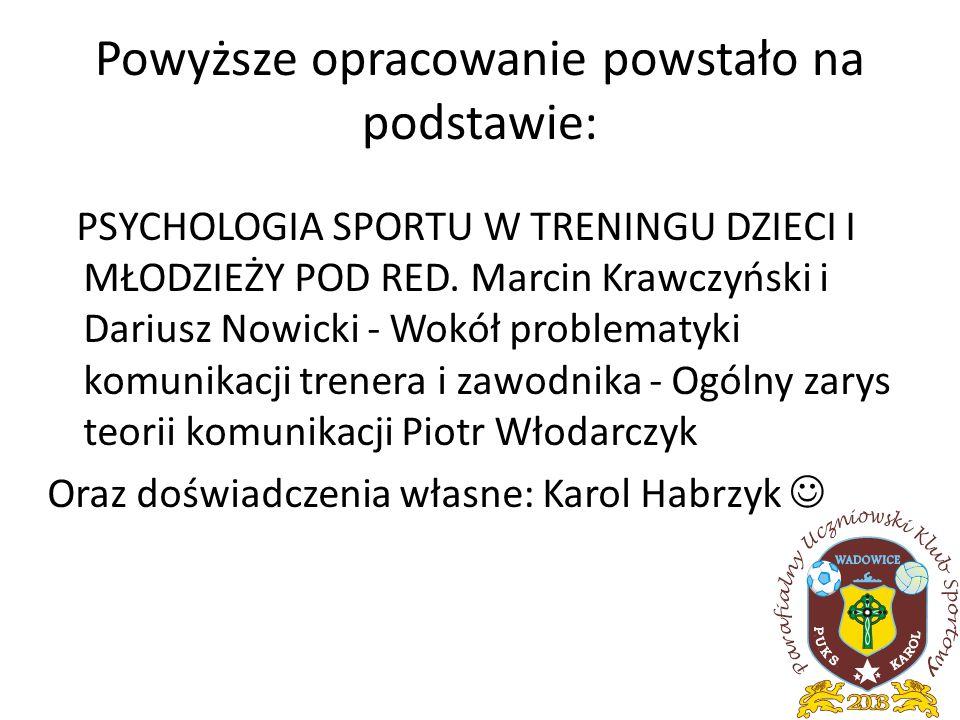 Powyższe opracowanie powstało na podstawie: PSYCHOLOGIA SPORTU W TRENINGU DZIECI I MŁODZIEŻY POD RED. Marcin Krawczyński i Dariusz Nowicki - Wokół pro