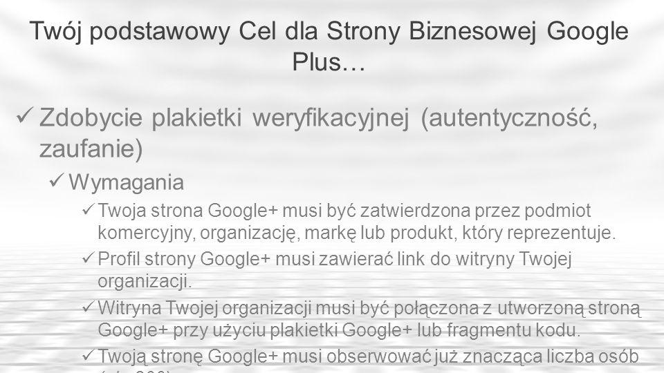 Twój podstawowy Cel dla Strony Biznesowej Google Plus… Zdobycie plakietki weryfikacyjnej (autentyczność, zaufanie) Wymagania Twoja strona Google+ musi