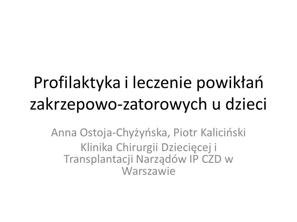 Profilaktyka i leczenie powikłań zakrzepowo-zatorowych u dzieci Anna Ostoja-Chyżyńska, Piotr Kaliciński Klinika Chirurgii Dziecięcej i Transplantacji