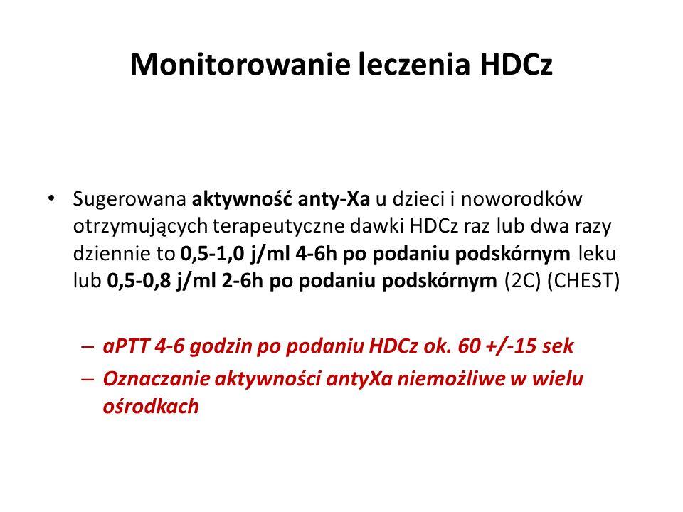 Monitorowanie leczenia HDCz Sugerowana aktywność anty-Xa u dzieci i noworodków otrzymujących terapeutyczne dawki HDCz raz lub dwa razy dziennie to 0,5