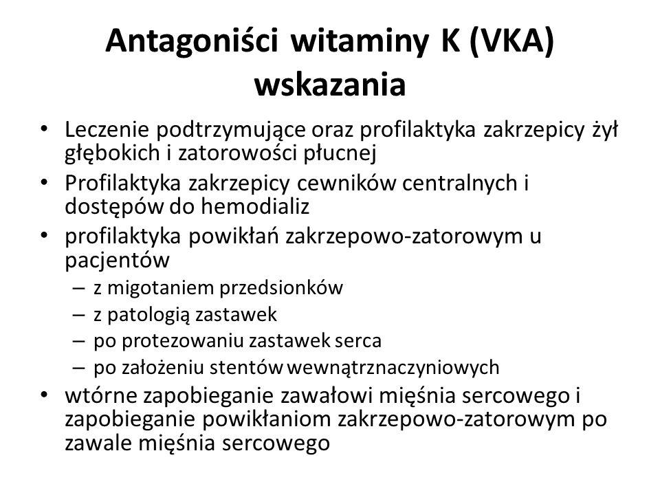 Antagoniści witaminy K (VKA) wskazania Leczenie podtrzymujące oraz profilaktyka zakrzepicy żył głębokich i zatorowości płucnej Profilaktyka zakrzepicy