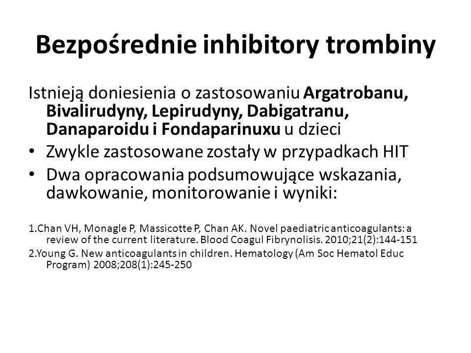Bezpośrednie inhibitory trombiny Istnieją doniesienia o zastosowaniu Argatrobanu, Bivalirudyny, Lepirudyny, Dabigatranu, Danaparoidu i Fondaparinuxu u