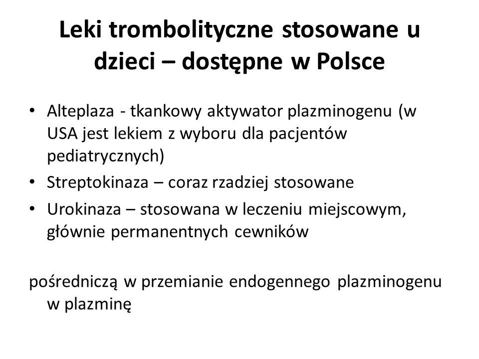 Leki trombolityczne stosowane u dzieci – dostępne w Polsce Alteplaza - tkankowy aktywator plazminogenu (w USA jest lekiem z wyboru dla pacjentów pedia