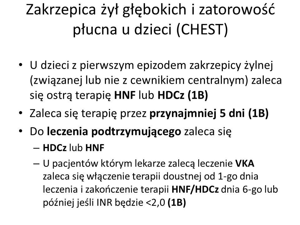 Zakrzepica żył głębokich i zatorowość płucna u dzieci (CHEST) U dzieci z pierwszym epizodem zakrzepicy żylnej (związanej lub nie z cewnikiem centralny