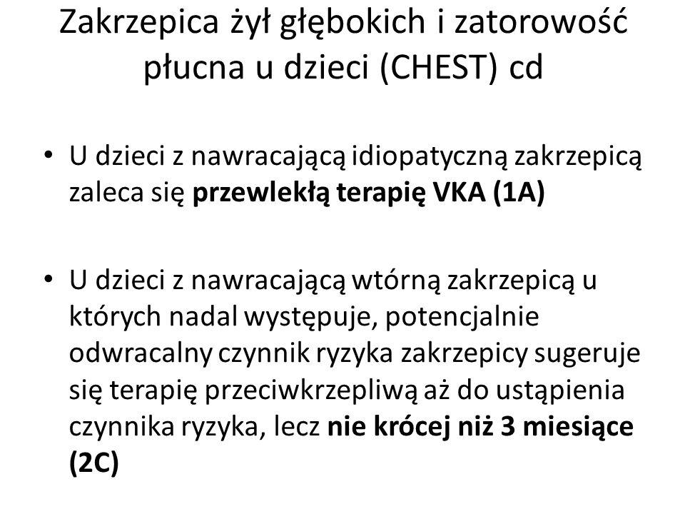 Zakrzepica żył głębokich i zatorowość płucna u dzieci (CHEST) cd U dzieci z nawracającą idiopatyczną zakrzepicą zaleca się przewlekłą terapię VKA (1A)