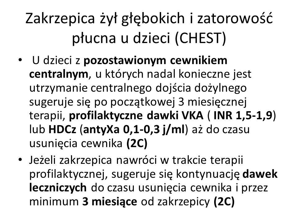 Zakrzepica żył głębokich i zatorowość płucna u dzieci (CHEST) U dzieci z pozostawionym cewnikiem centralnym, u których nadal konieczne jest utrzymanie