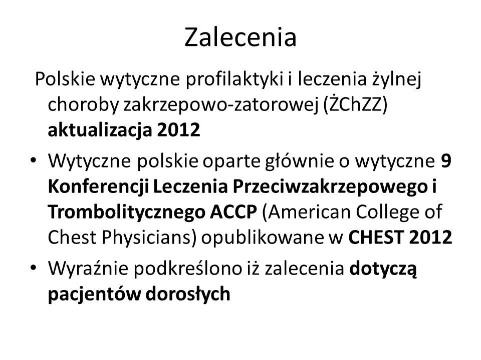 Zalecenia Polskie wytyczne profilaktyki i leczenia żylnej choroby zakrzepowo-zatorowej (ŻChZZ) aktualizacja 2012 Wytyczne polskie oparte głównie o wyt
