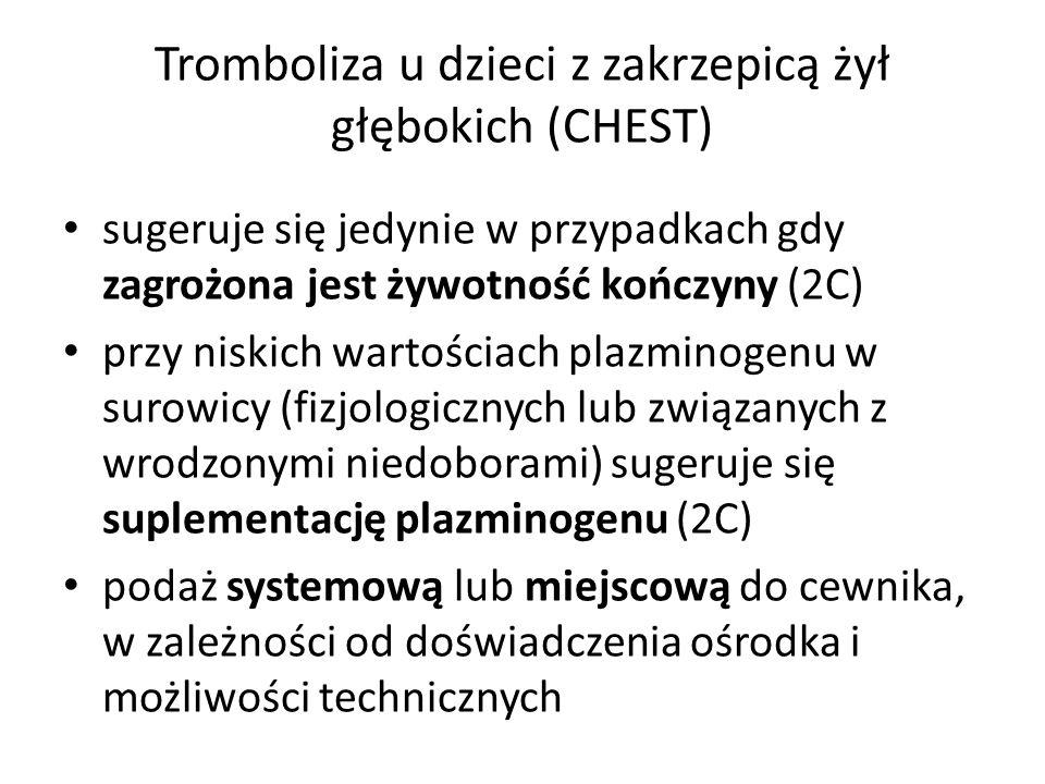 Tromboliza u dzieci z zakrzepicą żył głębokich (CHEST) sugeruje się jedynie w przypadkach gdy zagrożona jest żywotność kończyny (2C) przy niskich wart