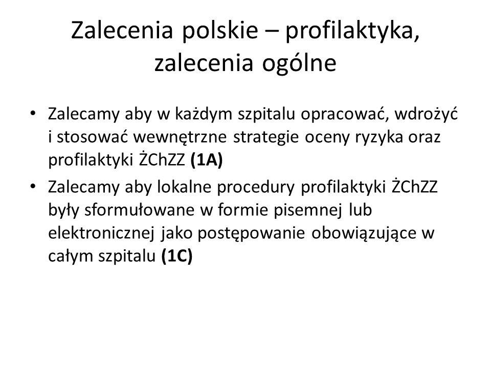 Zalecenia polskie – profilaktyka, zalecenia ogólne Zalecamy aby w każdym szpitalu opracować, wdrożyć i stosować wewnętrzne strategie oceny ryzyka oraz