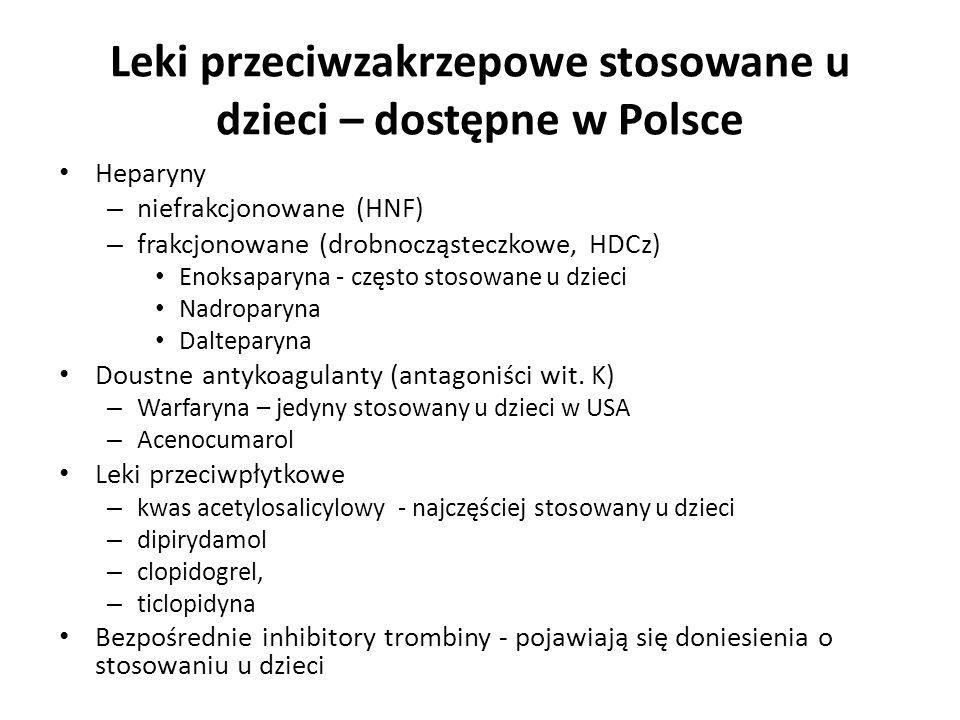 Leki przeciwzakrzepowe stosowane u dzieci – dostępne w Polsce Heparyny – niefrakcjonowane (HNF) – frakcjonowane (drobnocząsteczkowe, HDCz) Enoksaparyn