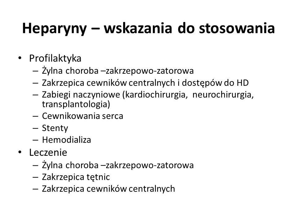 Heparyny – wskazania do stosowania Profilaktyka – Żylna choroba –zakrzepowo-zatorowa – Zakrzepica cewników centralnych i dostępów do HD – Zabiegi nacz