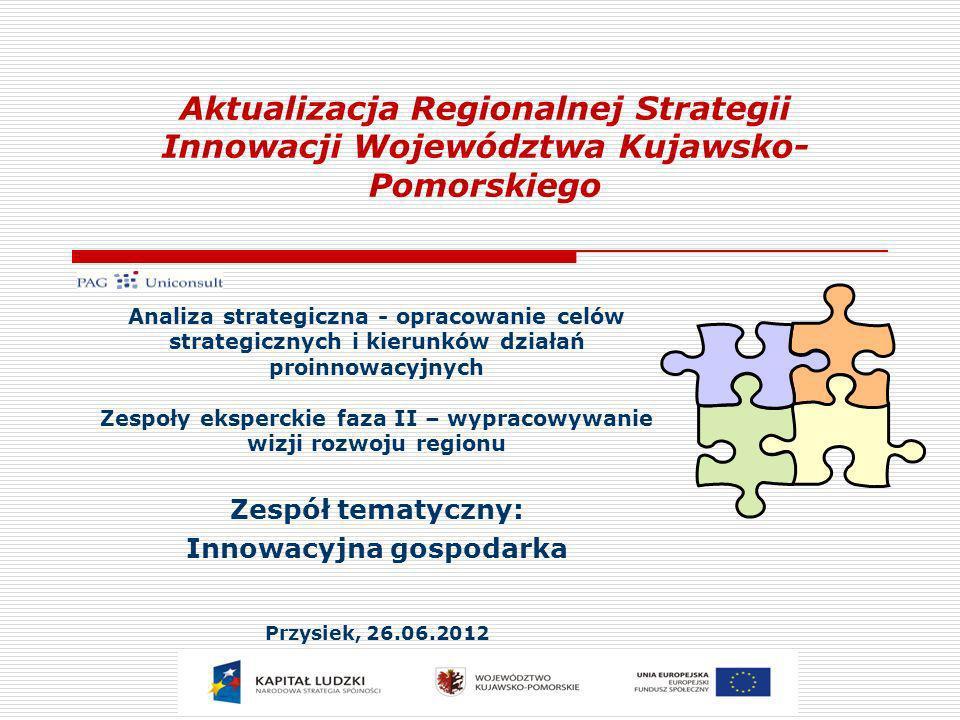Aktualizacja Regionalnej Strategii Innowacji Województwa Kujawsko- Pomorskiego Analiza strategiczna - opracowanie celów strategicznych i kierunków dzi