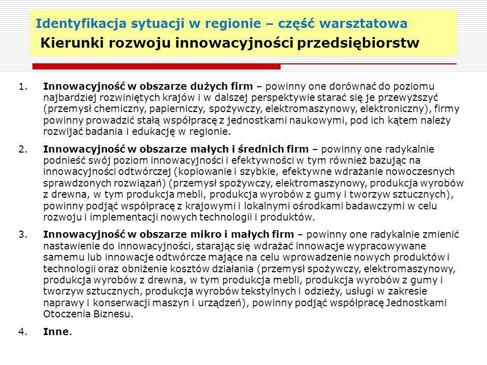 Identyfikacja sytuacji w regionie – część warsztatowa Kierunki rozwoju innowacyjności przedsiębiorstw 18 1. Innowacyjność w obszarze dużych firm – pow