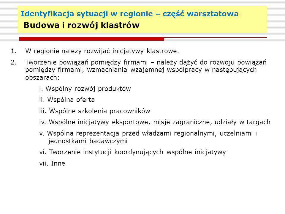 Identyfikacja sytuacji w regionie – część warsztatowa Budowa i rozwój klastrów 19 1. W regionie należy rozwijać inicjatywy klastrowe. 2. Tworzenie pow