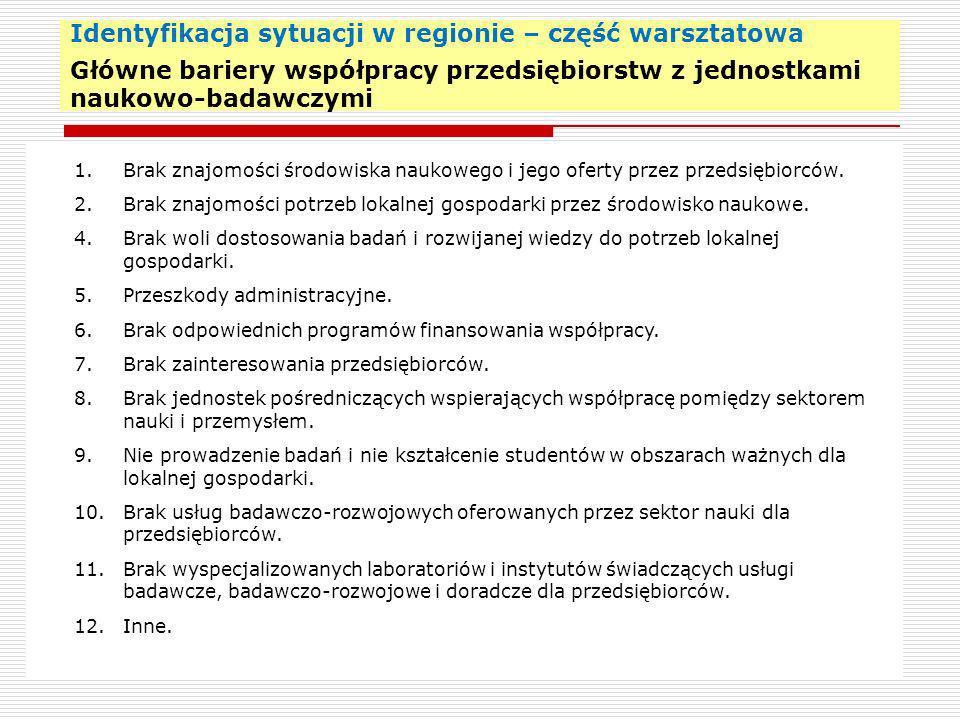 Identyfikacja sytuacji w regionie – część warsztatowa Główne bariery współpracy przedsiębiorstw z jednostkami naukowo-badawczymi 22 1. Brak znajomości