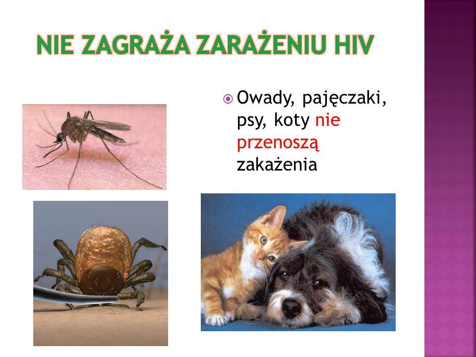 Owady, pajęczaki, psy, koty nie przenoszą zakażenia