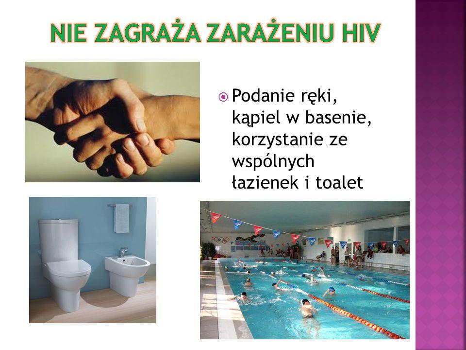 Podanie ręki, kąpiel w basenie, korzystanie ze wspólnych łazienek i toalet