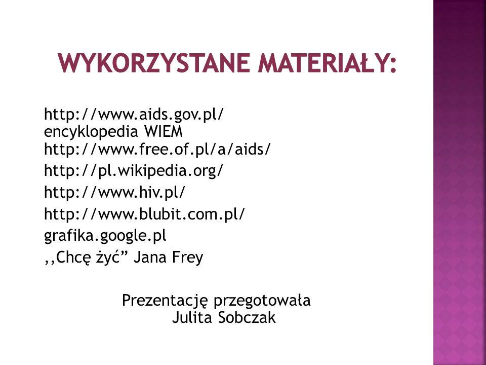 http://www.aids.gov.pl/ encyklopedia WIEM http://www.free.of.pl/a/aids/ http://pl.wikipedia.org/ http://www.hiv.pl/ http://www.blubit.com.pl/ grafika.