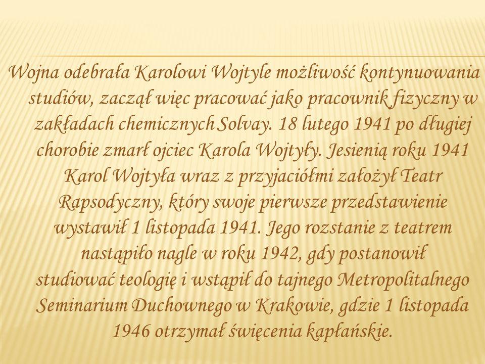 Od września 1930, po zdaniu egzaminów wstępnych, Karol Wojtyła rozpoczął naukę w 8-letnim Państwowym Gimnazjum Męskim im. Marcina Wadowity w Wadowicac