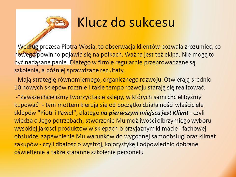 Klucz do sukcesu -Według prezesa Piotra Wosia, to obserwacja klientów pozwala zrozumieć, co nowego powinno pojawić się na półkach. Ważna jest też ekip
