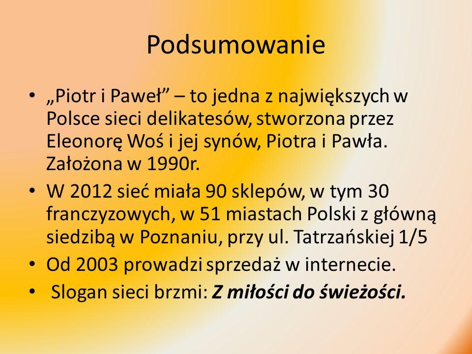 Podsumowanie Piotr i Paweł – to jedna z największych w Polsce sieci delikatesów, stworzona przez Eleonorę Woś i jej synów, Piotra i Pawła. Założona w