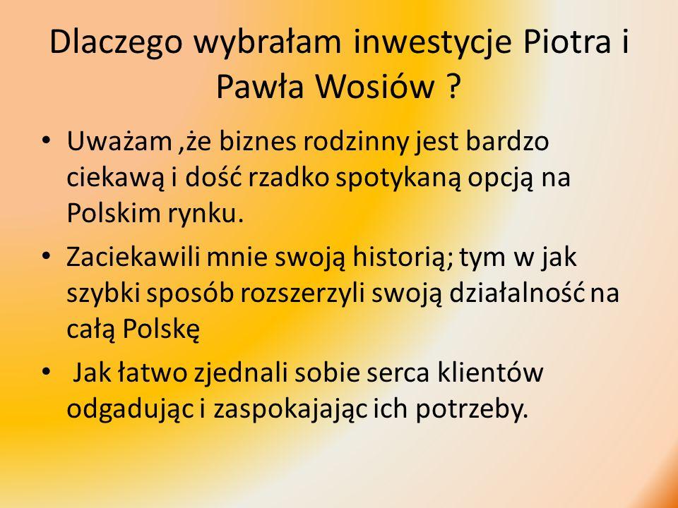 Dlaczego wybrałam inwestycje Piotra i Pawła Wosiów ? Uważam,że biznes rodzinny jest bardzo ciekawą i dość rzadko spotykaną opcją na Polskim rynku. Zac