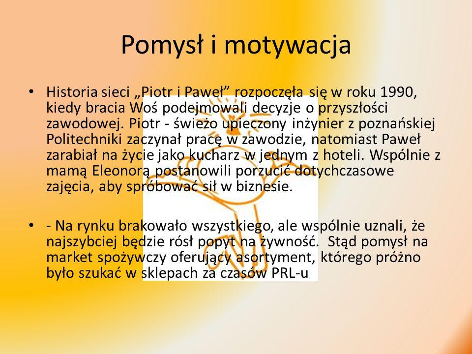 Pomysł i motywacja Historia sieci Piotr i Paweł rozpoczęła się w roku 1990, kiedy bracia Woś podejmowali decyzje o przyszłości zawodowej. Piotr - świe