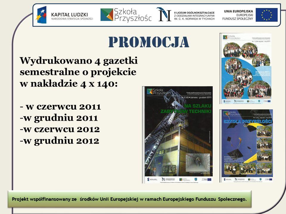 Promocja Wydrukowano 4 gazetki semestralne o projekcie w nakładzie 4 x 140: - w czerwcu 2011 -w grudniu 2011 -w czerwcu 2012 -w grudniu 2012 Projekt w