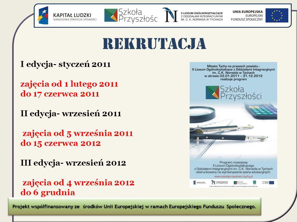 REKRUTACJA I edycja- styczeń 2011 zajęcia od 1 lutego 2011 do 17 czerwca 2011 II edycja- wrzesień 2011 zajęcia od 5 września 2011 do 15 czerwca 2012 I