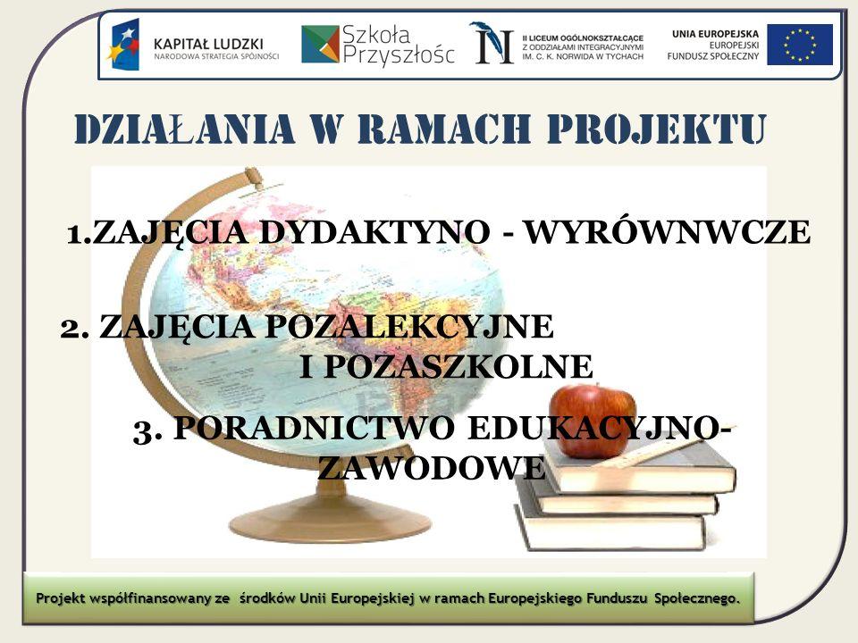 DZIA Ł ANIA W RAMACH PROJEKTU 1.ZAJĘCIA DYDAKTYNO - WYRÓWNWCZE 2. ZAJĘCIA POZALEKCYJNE I POZASZKOLNE 3. PORADNICTWO EDUKACYJNO- ZAWODOWE Projekt współ