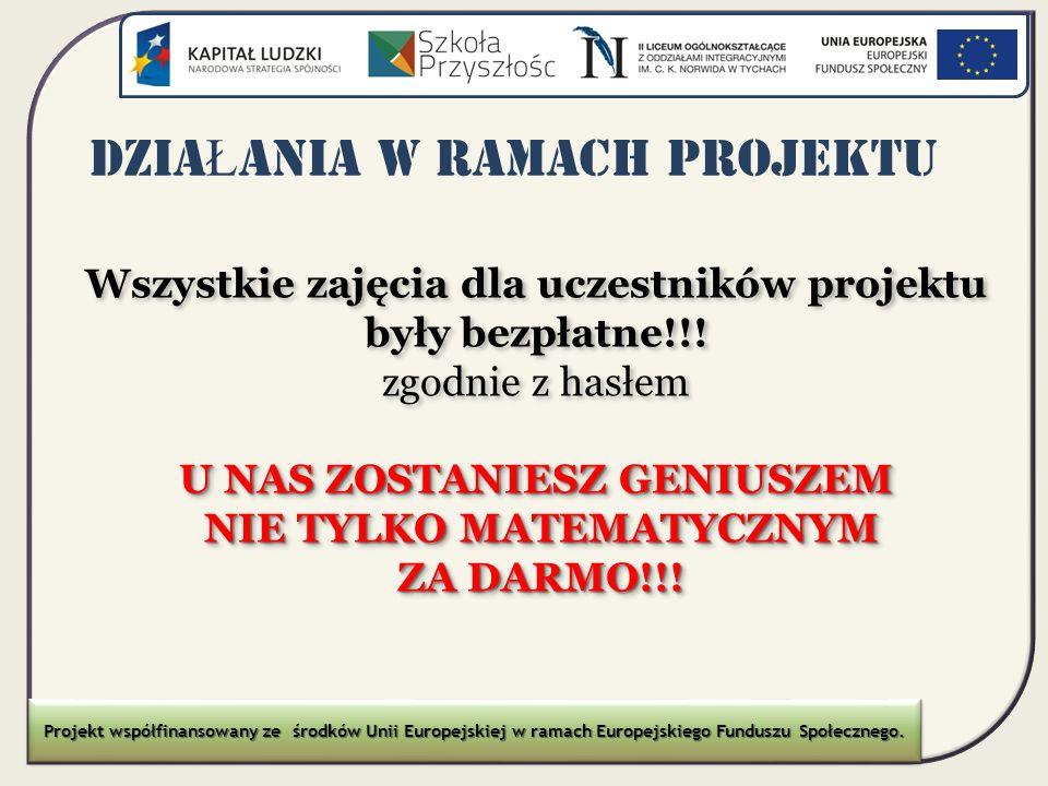 DZIA Ł ANIA W RAMACH PROJEKTU Wszystkie zajęcia dla uczestników projektu były bezpłatne!!! zgodnie z hasłem U NAS ZOSTANIESZ GENIUSZEM NIE TYLKO MATEM