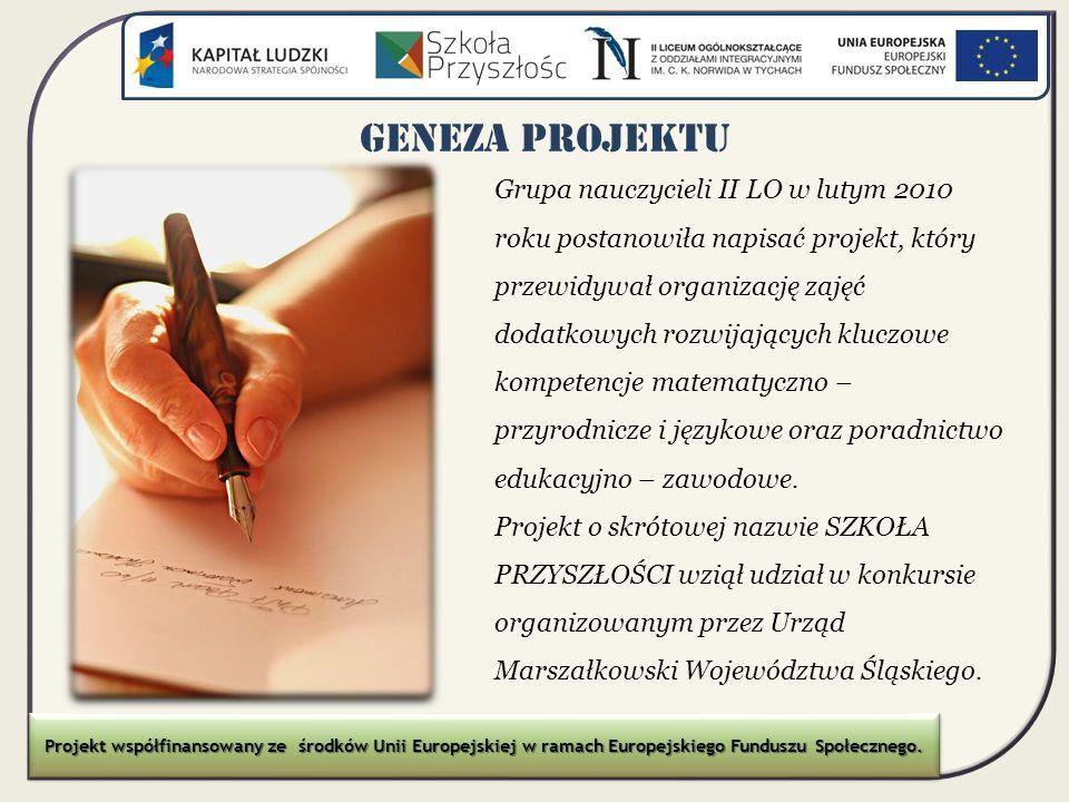 GENEZA PROJEKTU Projekt zgłoszono w ramach konkursu nr 1/POKL/9.1.2/2010 dla Poddziałania 9.1.2 Wyrównywanie szans edukacyjnych uczniów z grup o utrudnionym dostępie do edukacji oraz zmniejszanie różnic w jakości usług edukacyjnych Priorytetu IX Programu Operacyjnego Kapitał Ludzki w województwie śląskim Projekt współfinansowany ze środków Unii Europejskiej w ramach Europejskiego Funduszu Społecznego.