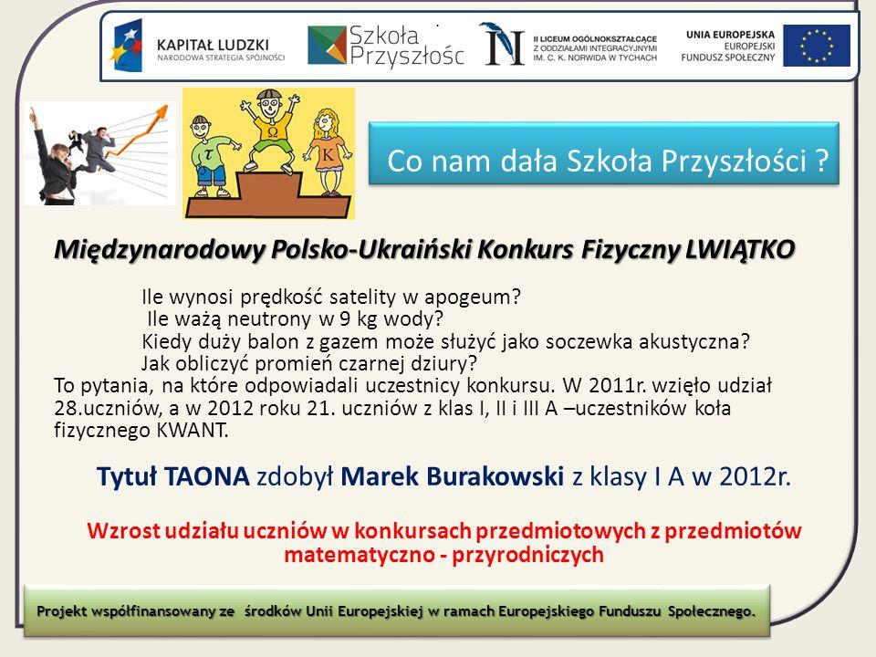 Co nam dała Szkoła Przyszłości ? Międzynarodowy Polsko-Ukraiński Konkurs Fizyczny LWIĄTKO Ile wynosi prędkość satelity w apogeum? Ile ważą neutrony w