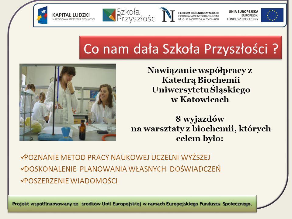 Co nam dała Szkoła Przyszłości ? Nawiązanie współpracy z Katedrą Biochemii Uniwersytetu Śląskiego w Katowicach 8 wyjazdów na warsztaty z biochemii, kt
