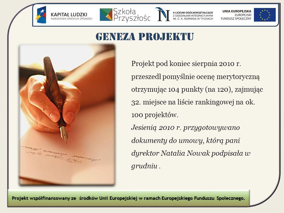 GENEZA PROJEKTU Projekt pod koniec sierpnia 2010 r. przeszedł pomyślnie ocenę merytoryczną otrzymując 104 punkty (na 120), zajmując 32. miejsce na liś