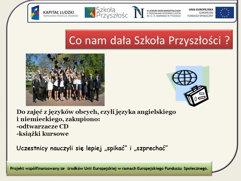 Co nam dała Szkoła Przyszłości ? Projekt współfinansowany ze środków Unii Europejskiej w ramach Europejskiego Funduszu Społecznego. Do zajęć z języków