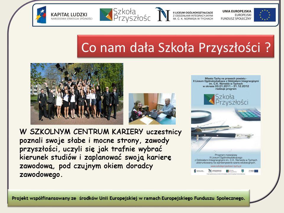 Co nam dała Szkoła Przyszłości ? Projekt współfinansowany ze środków Unii Europejskiej w ramach Europejskiego Funduszu Społecznego. W SZKOLNYM CENTRUM