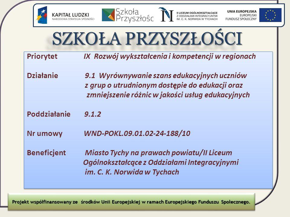 SZKOŁA PRZYSZŁOŚCI SZKOŁA PRZYSZŁOŚCI Priorytet IX Rozwój wykształcenia i kompetencji w regionach Działanie 9.1 Wyrównywanie szans edukacyjnych ucznió