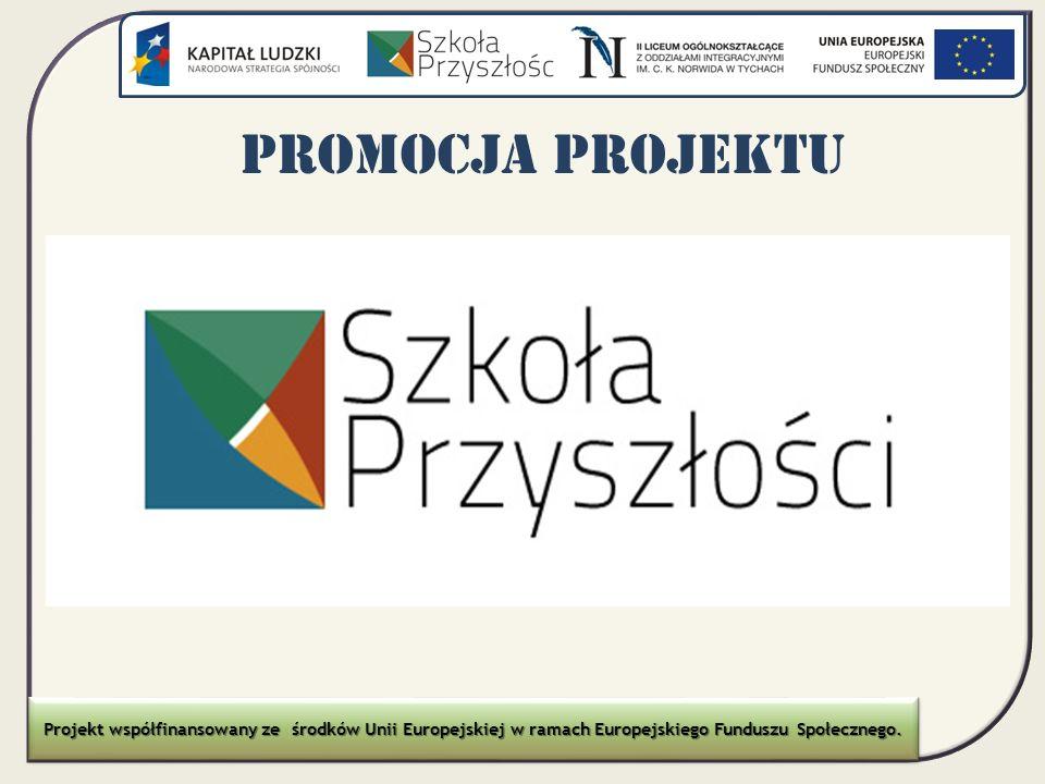 Promocja Plakat projektu Sale, w których zajęcia się odbywały zostały oznaczone naklejką.
