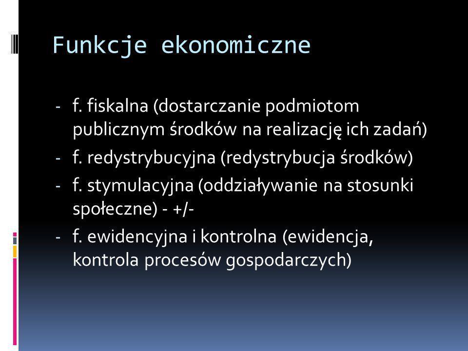 Funkcje ekonomiczne - f. fiskalna (dostarczanie podmiotom publicznym środków na realizację ich zadań) - f. redystrybucyjna (redystrybucja środków) - f