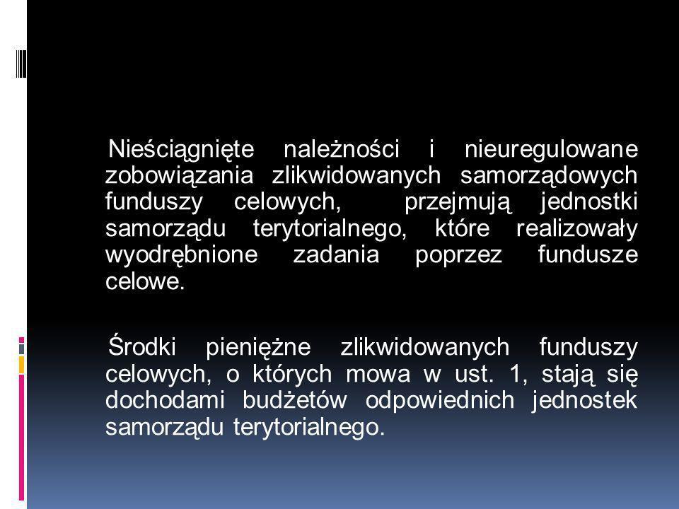 Nieściągnięte należności i nieuregulowane zobowiązania zlikwidowanych samorządowych funduszy celowych, przejmują jednostki samorządu terytorialnego, k