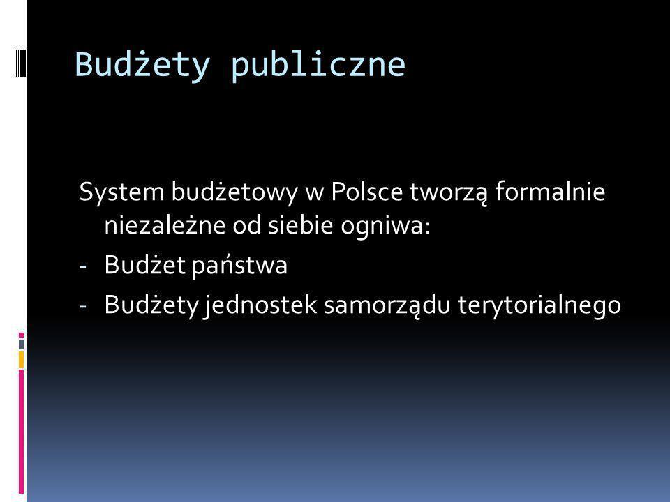 Budżety publiczne System budżetowy w Polsce tworzą formalnie niezależne od siebie ogniwa: - Budżet państwa - Budżety jednostek samorządu terytorialneg