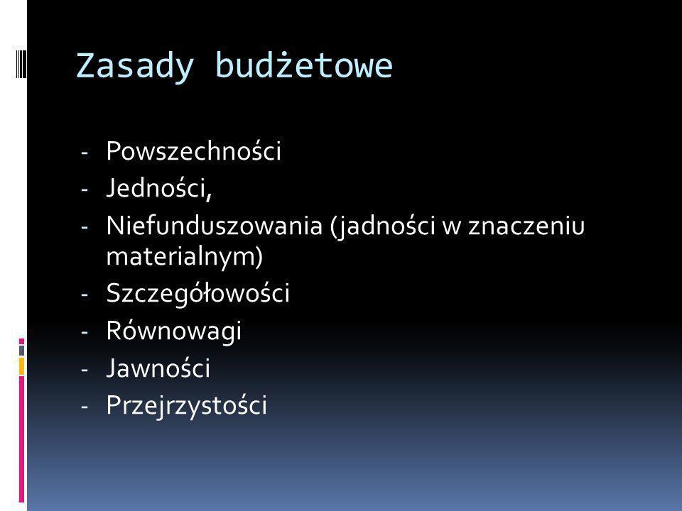 Zasady budżetowe - Powszechności - Jedności, - Niefunduszowania (jadności w znaczeniu materialnym) - Szczegółowości - Równowagi - Jawności - Przejrzys