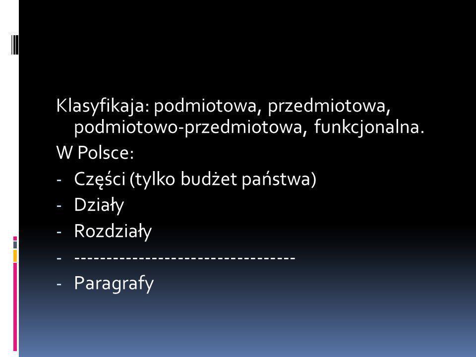 Klasyfikaja: podmiotowa, przedmiotowa, podmiotowo-przedmiotowa, funkcjonalna. W Polsce: - Części (tylko budżet państwa) - Działy - Rozdziały - -------