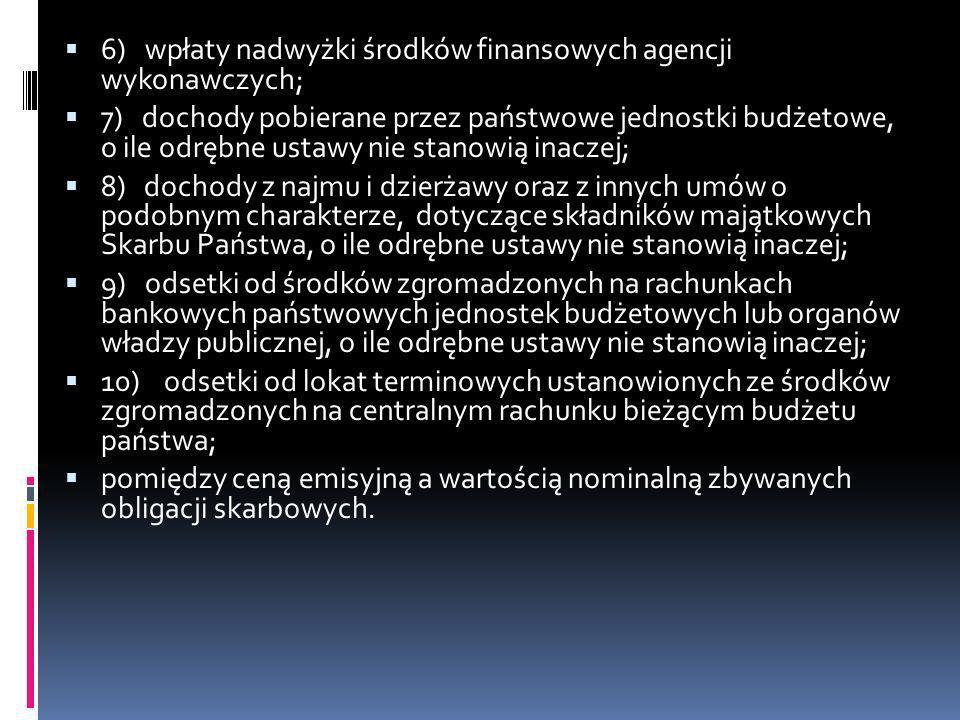 6) wpłaty nadwyżki środków finansowych agencji wykonawczych; 7) dochody pobierane przez państwowe jednostki budżetowe, o ile odrębne ustawy nie stanow