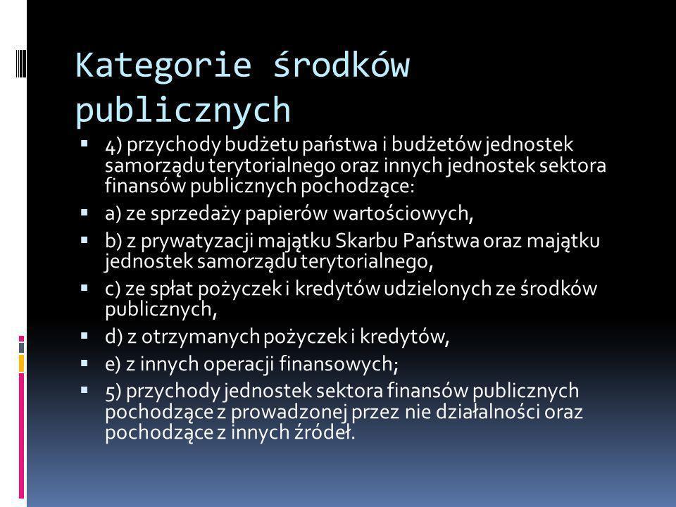 Kategorie środków publicznych 4) przychody budżetu państwa i budżetów jednostek samorządu terytorialnego oraz innych jednostek sektora finansów public