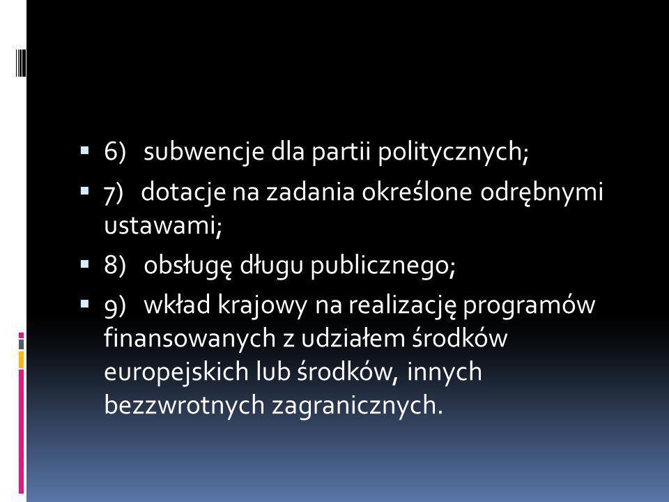 6) subwencje dla partii politycznych; 7) dotacje na zadania określone odrębnymi ustawami; 8) obsługę długu publicznego; 9) wkład krajowy na realizację