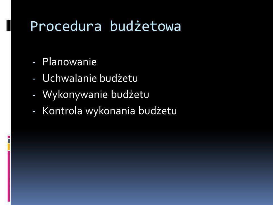 Procedura budżetowa - Planowanie - Uchwalanie budżetu - Wykonywanie budżetu - Kontrola wykonania budżetu