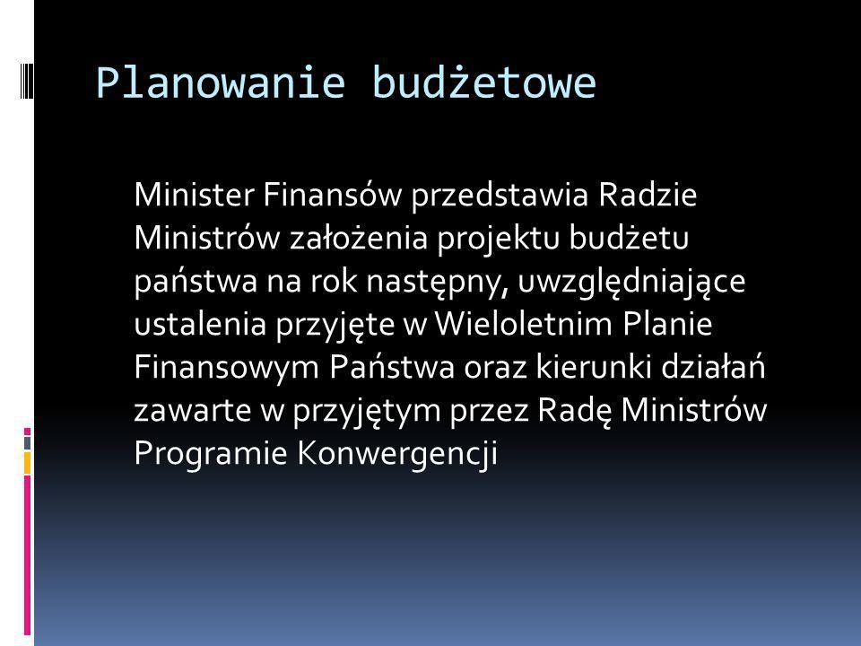 Planowanie budżetowe Minister Finansów przedstawia Radzie Ministrów założenia projektu budżetu państwa na rok następny, uwzględniające ustalenia przyj